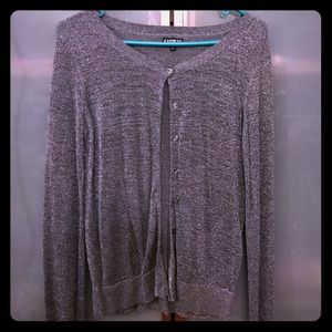 Express M sparkly grey buttoned sweater!
